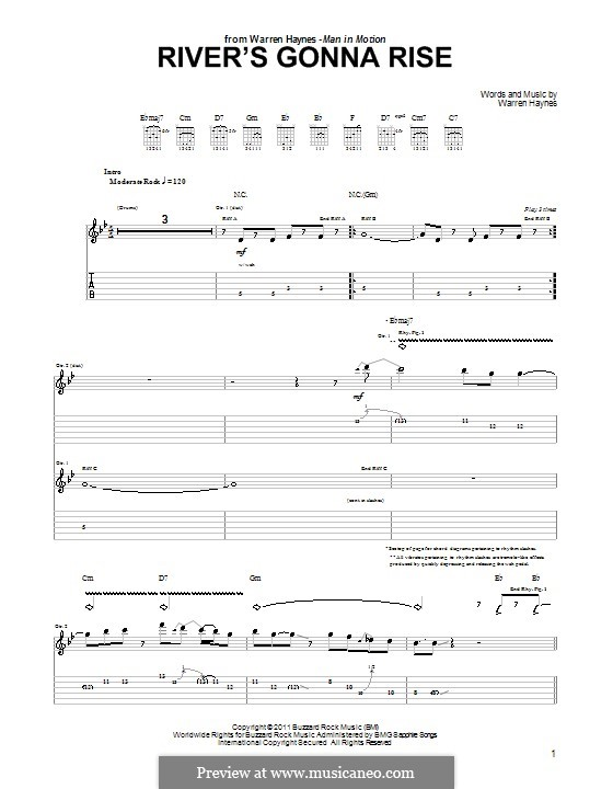 River's Gonna Rise: For guitar with tab by Warren Haynes