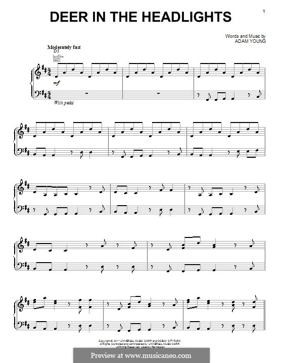 Deer in the Headlights (Owl City): For voice and piano (or guitar) by Adam Young