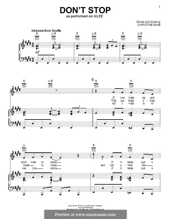 Don't Stop (Fleetwood Mac): For voice and piano (or guitar) by Christine McVie
