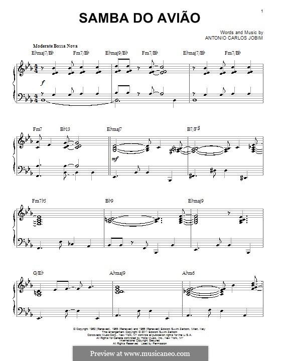 Song of the Jet (Samba do Aviao): For piano by Antonio Carlos Jobim