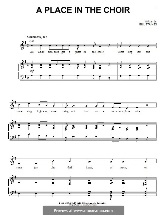 A Place in the Choir (Celtic Thunder): For voice and piano (or guitar) by Bill Staines