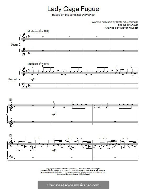 Lady Gaga Fugue: For piano four hands by RedOne, Stefani Germanotta