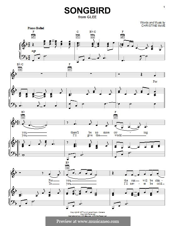 Songbird (Fleetwood Mac): For voice and piano or guitar (F Major) by Christine McVie
