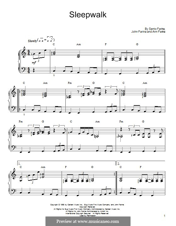 Sleepwalk (Santo & Johnny): For easy piano by Ann Farina, John Farina, Santo Farina
