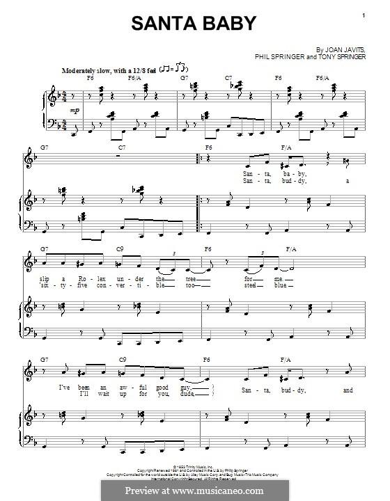 Santa Baby (Eartha Kitt): For voice and piano (F Major) by Joan Javits, Philip Springer, Tony Springer