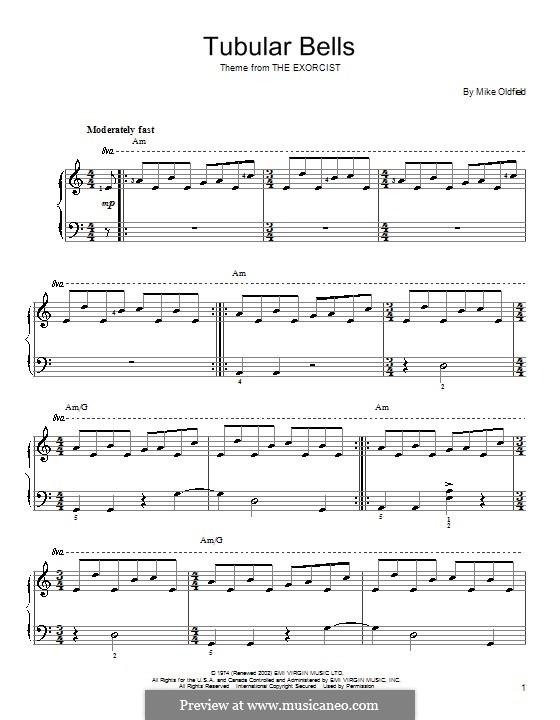 Tubular Bells (from The Excorcist): For easy piano by Mike Oldfield