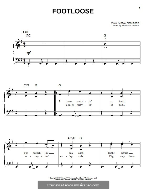 Footloose: For easy piano by Kenny Loggins