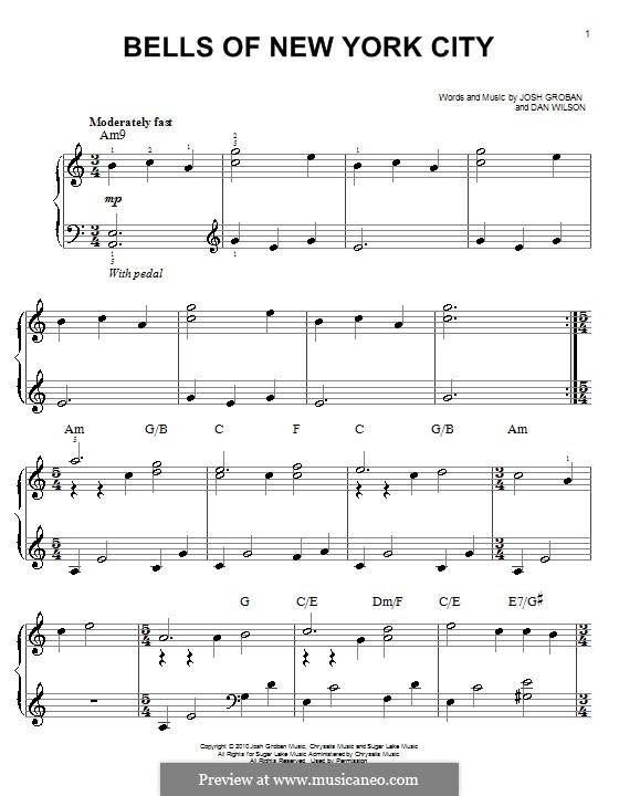 Bells of New York City: For piano by Daniel Wilson, Josh Groban