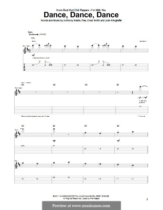 Dance, Dance, Dance (Red Hot Chili Peppers): For guitar (with tab) by Flea, Anthony Kiedis, Chad Smith, Josh Klinghoffer
