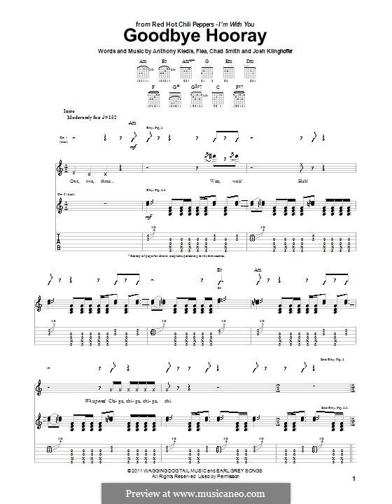 Goodbye Hooray (Red Hot Chili Peppers): For guitar (with tab) by Flea, Anthony Kiedis, Chad Smith, Josh Klinghoffer