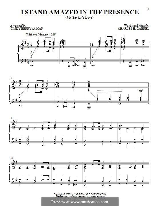 I Stand Amazed in the Presence (My Savior's Love): For piano by Charles Hutchinson Gabriel