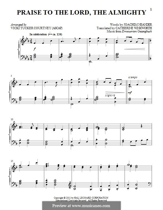 Praise to the Lord, the Almighty: For piano (E Flat Major) by Unknown (works before 1850)