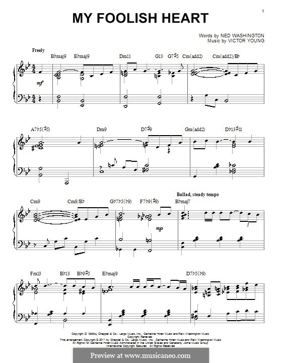 My Foolish Heart: For piano by Victor Young