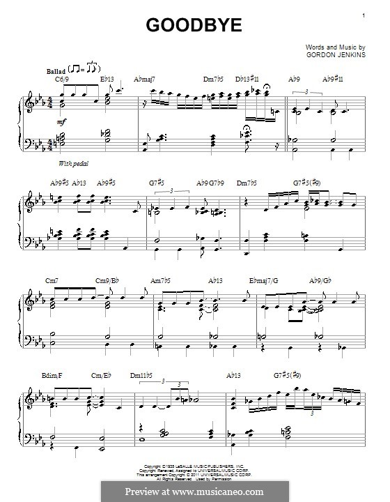 Goodbye (Bill Evans): For piano by Gordon Jenkins