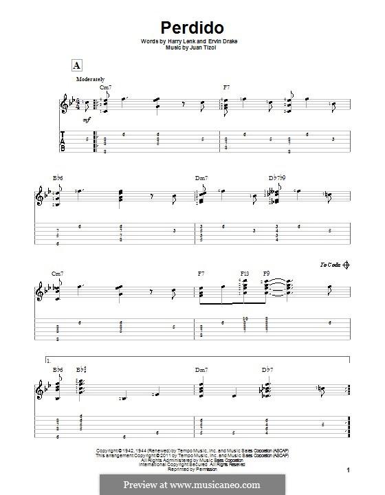 Perdido (Duke Ellington): For guitar with tab by Juan Tizol