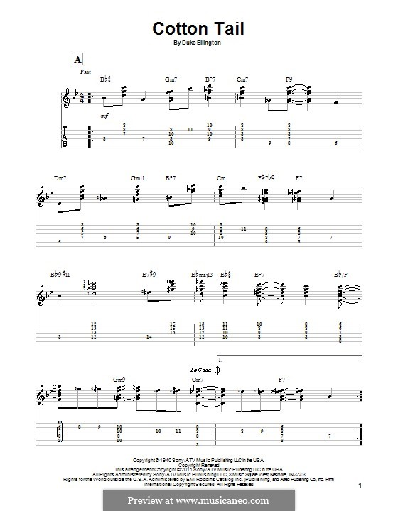 Cotton Tail: For guitar with tab by Duke Ellington