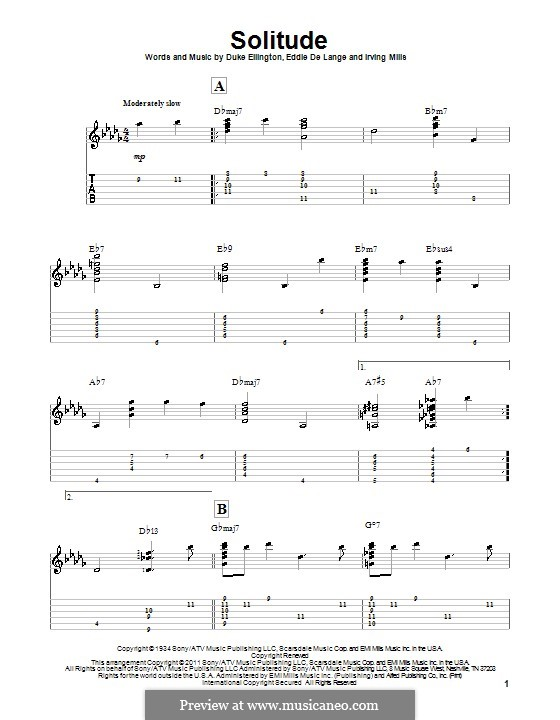 Solitude: For guitar with tab by Irving Mills, Duke Ellington, Eddie De Lange