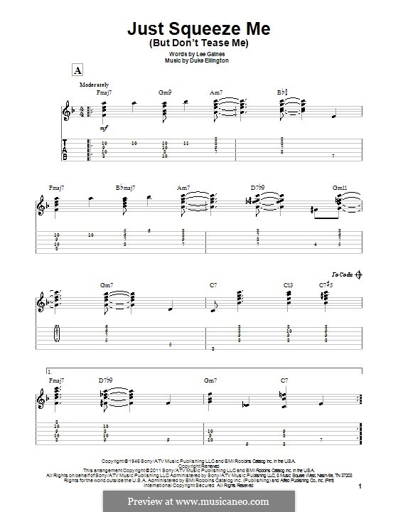 Just Squeeze Me (But Don't Tease Me): For guitar with tab by Lee Gaines