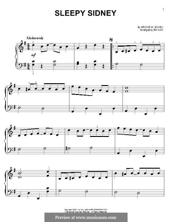 Sleepy Sidney: For easy piano by Archie W. Scheu