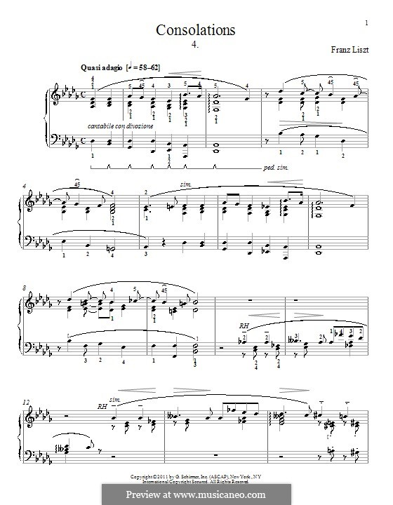 Consolations, S.172: No.4 in D Flat Major by Franz Liszt