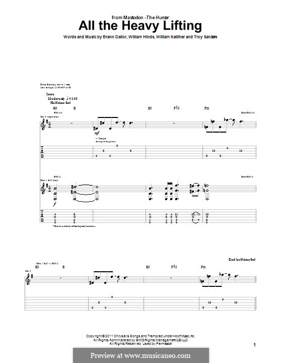 All the Heavy Lifting (Mastodon): For guitar with tab by Brann Dailor, Troy Sanders, William Hinds, William Kelliher
