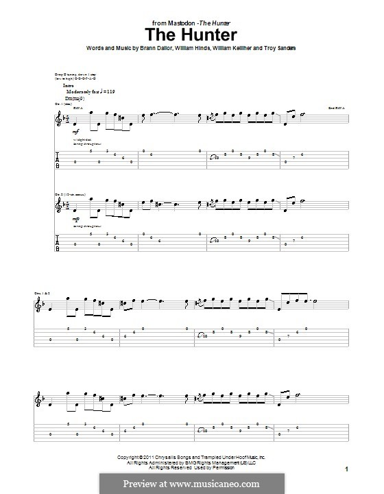 The Hunter (Mastodon): For guitar with tab by Brann Dailor, Troy Sanders, William Hinds, William Kelliher