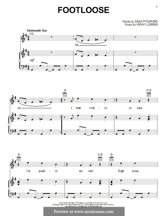 Footloose: For voice and piano (or guitar) by Kenny Loggins
