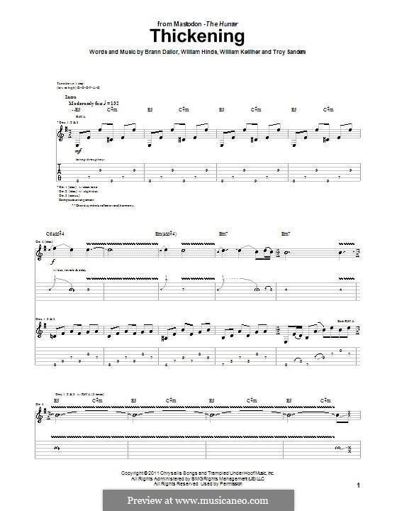Thickening (Mastodon): For guitar with tab by Brann Dailor, Troy Sanders, William Hinds, William Kelliher