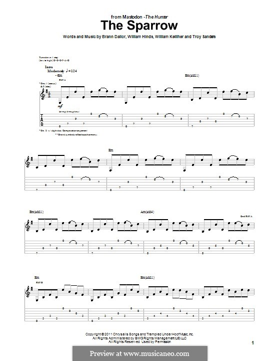 The Sparrow (Mastodon): For guitar with tab by Brann Dailor, Troy Sanders, William Hinds, William Kelliher