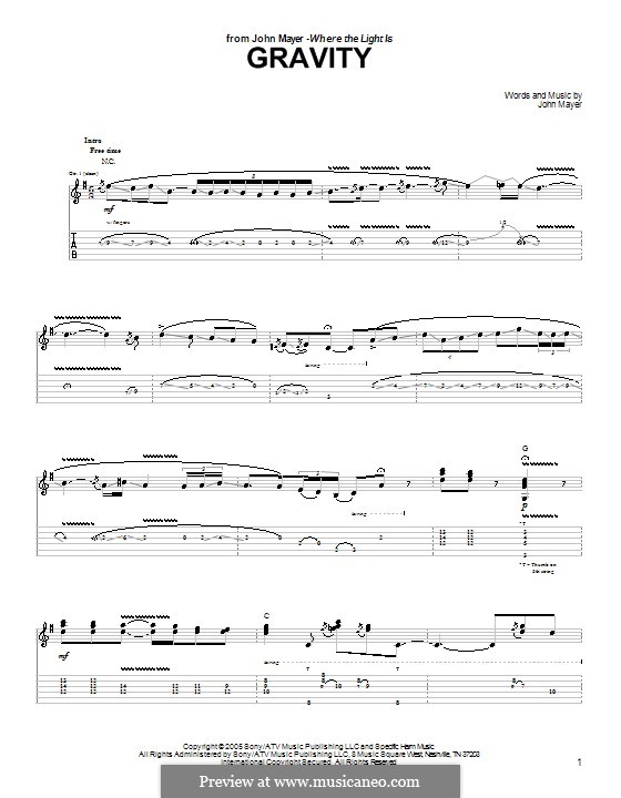 Gravity: For guitar with tab by John Mayer
