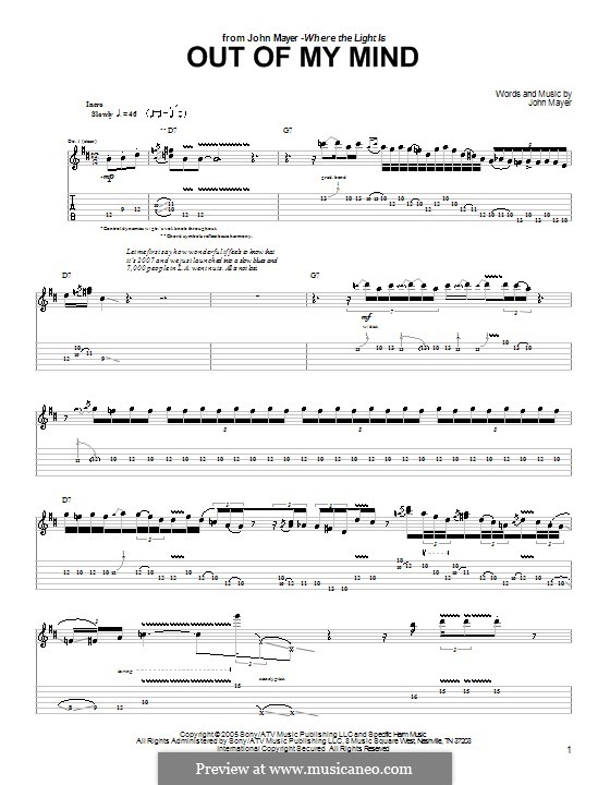 Out of My Mind: For guitar with tab by John Mayer