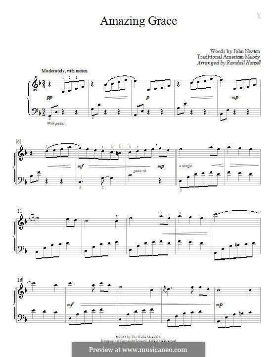 Amazing Grace, for Piano: With fingering by folklore