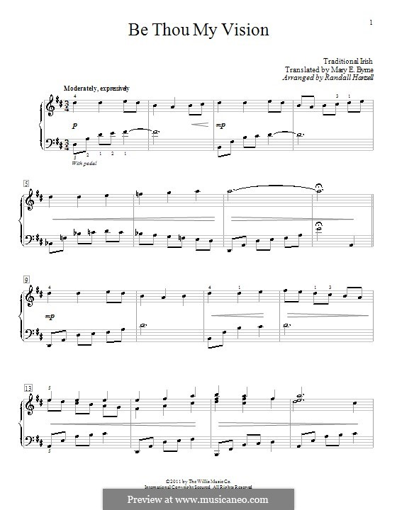 Be Thou My Vision (Printable scores): For piano (with fingering) by folklore