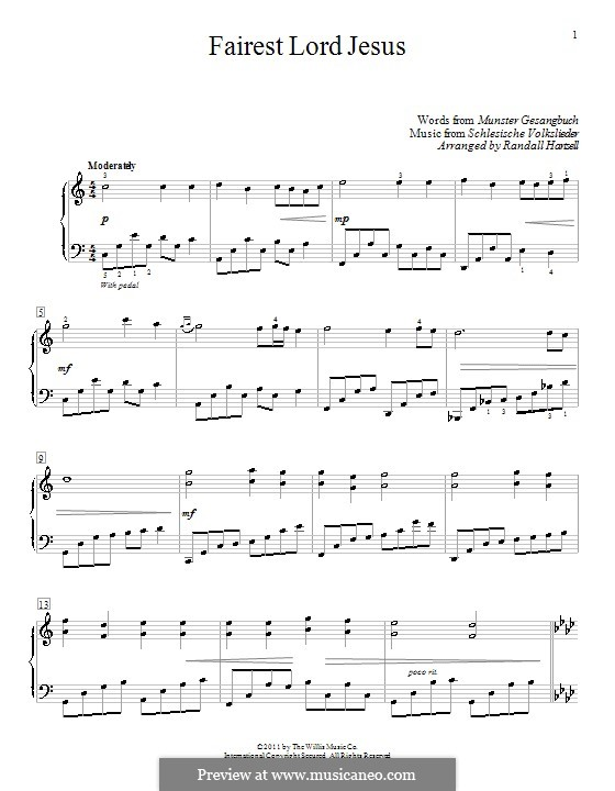 Fairest Lord Jesus: For piano (C Major) by folklore