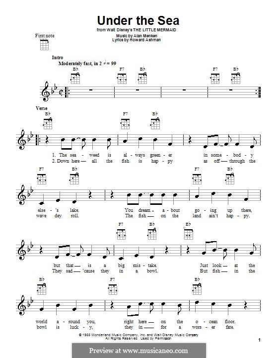 Under the Sea (from The Little Mermaid): For ukulele by Alan Menken