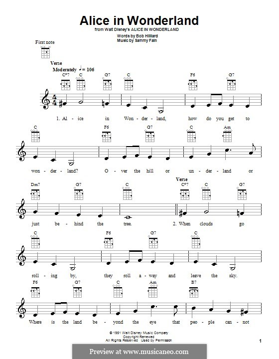 Alice in Wonderland (Bill Evans): For ukulele by Bob Hilliard, Sammy Fain
