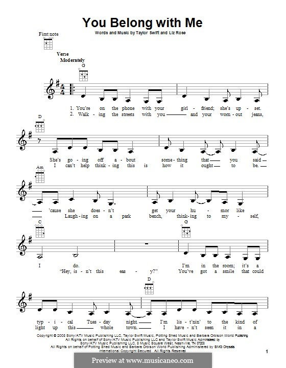 You Belong with Me (Taylor Swift): For ukulele by Liz Rose