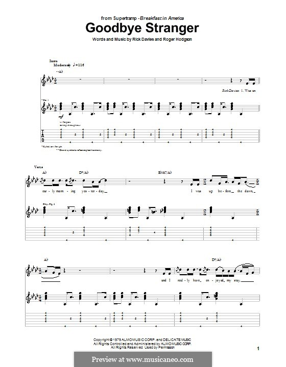 Goodbye Stranger (Supertramp): For guitar with tab by Rick Davies, Roger Hodgson