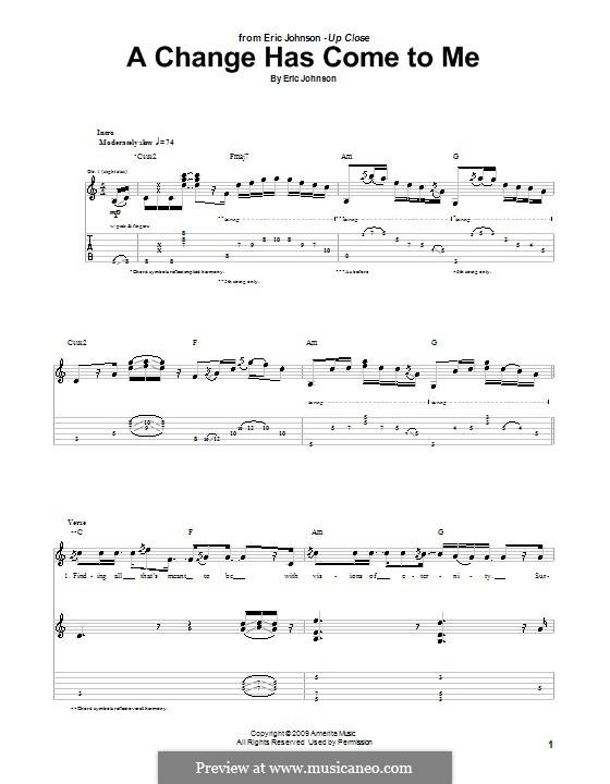 A Change Has Come To Me: For guitar with tab by Eric Johnson