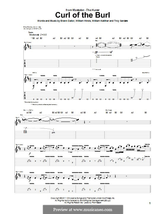 Curl of the Burl (Mastodon): For guitar with tab by Brann Dailor, Troy Sanders, William Hinds, William Kelliher