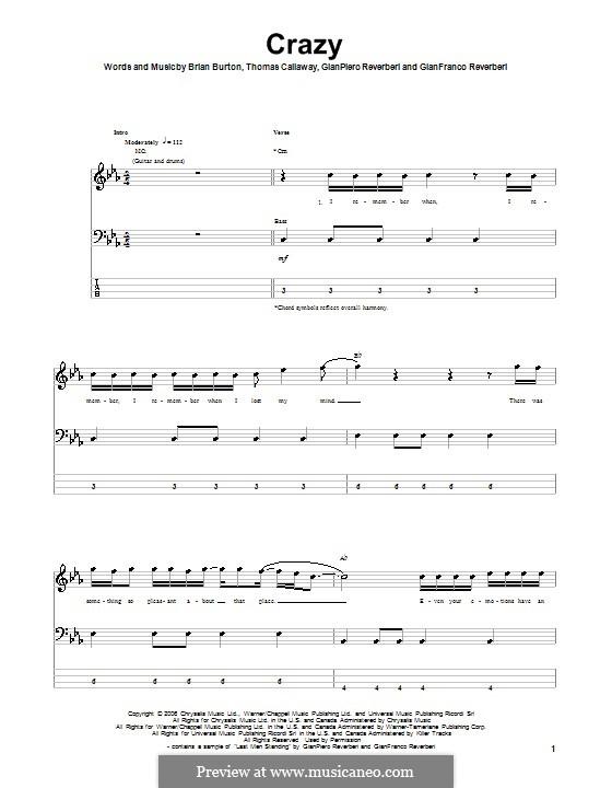 Crazy (Gnarls Barkley): For bass guitar with tab by Brian Burton, Gian Piero Reverberi, Gianfranco Reverberi, Thomas Callaway