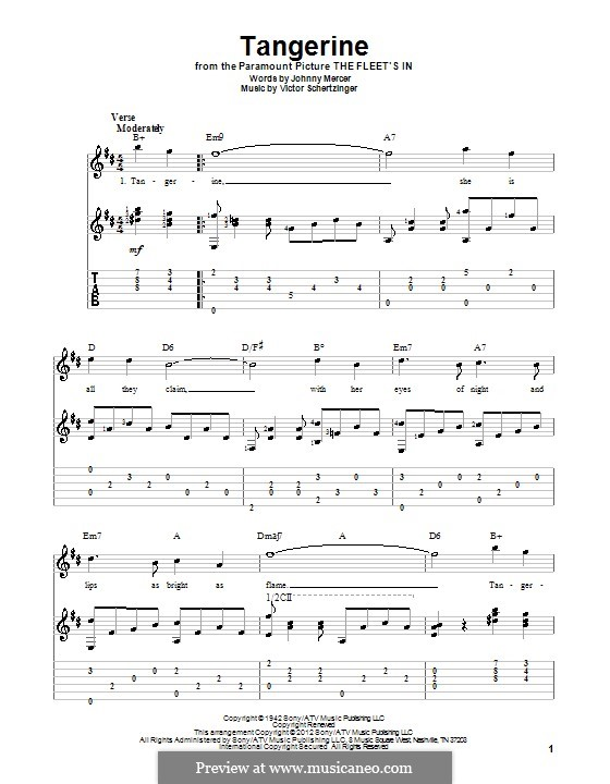 Tangerine: For guitar with tab by Victor Schertzinger
