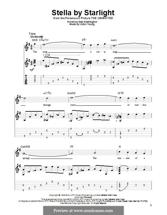 Stella By Starlight: For guitar with tab by Victor Young