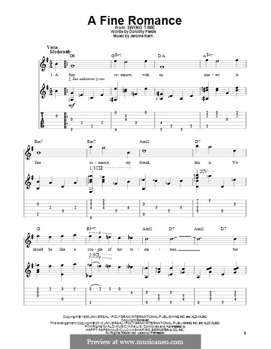 A Fine Romance: For guitar with tabulature by Jerome Kern
