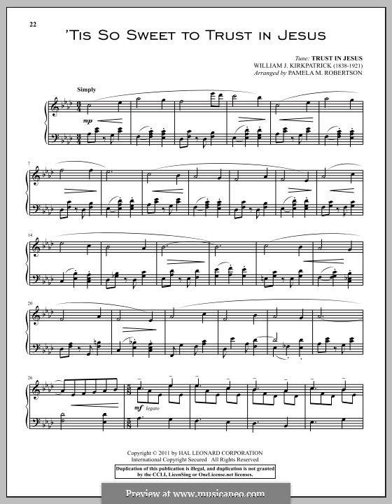 'Tis So Sweet to Trust in Jesus: For piano by William (James) Kirkpatrick