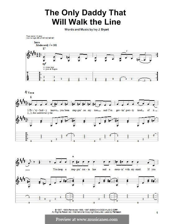 The Only Daddy That Will Walk the Line (Waylon Jennings): For guitar with tab by Ivy J. Bryant