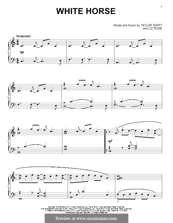 White Horse (Taylor Swift): For piano by Liz Rose