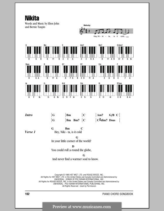 Nikita: Lyrics and piano chords by Elton John