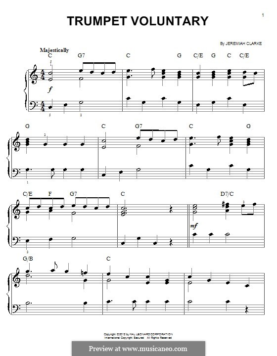 Prince of Denmark's March (Trumpet Voluntary), printable scores: For easy piano by Jeremiah Clarke