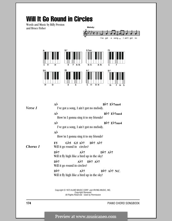 Will It Go Round in Circles (Billy Preston): Lyrics and piano chords by Bruce Fisher
